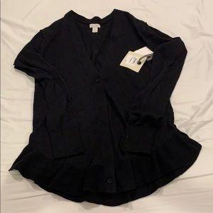 Brand New Hinge Ruffle Black Cardigan -XS